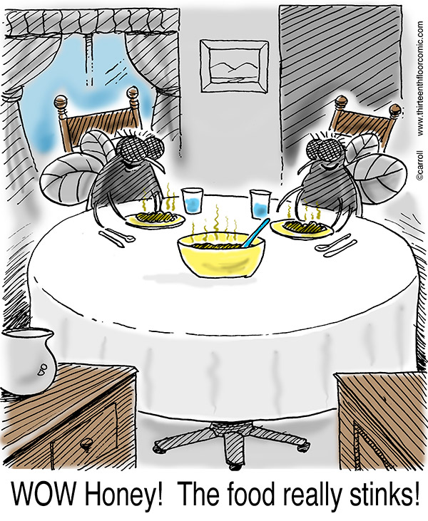 two-house-flies-at-dinner-cartoon