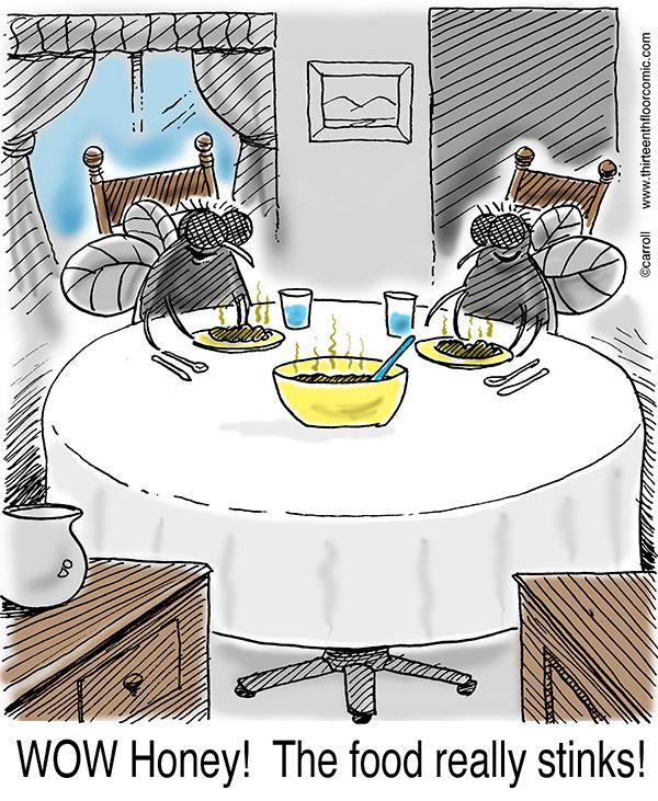 two-house-flies-at-dinner-cartoon