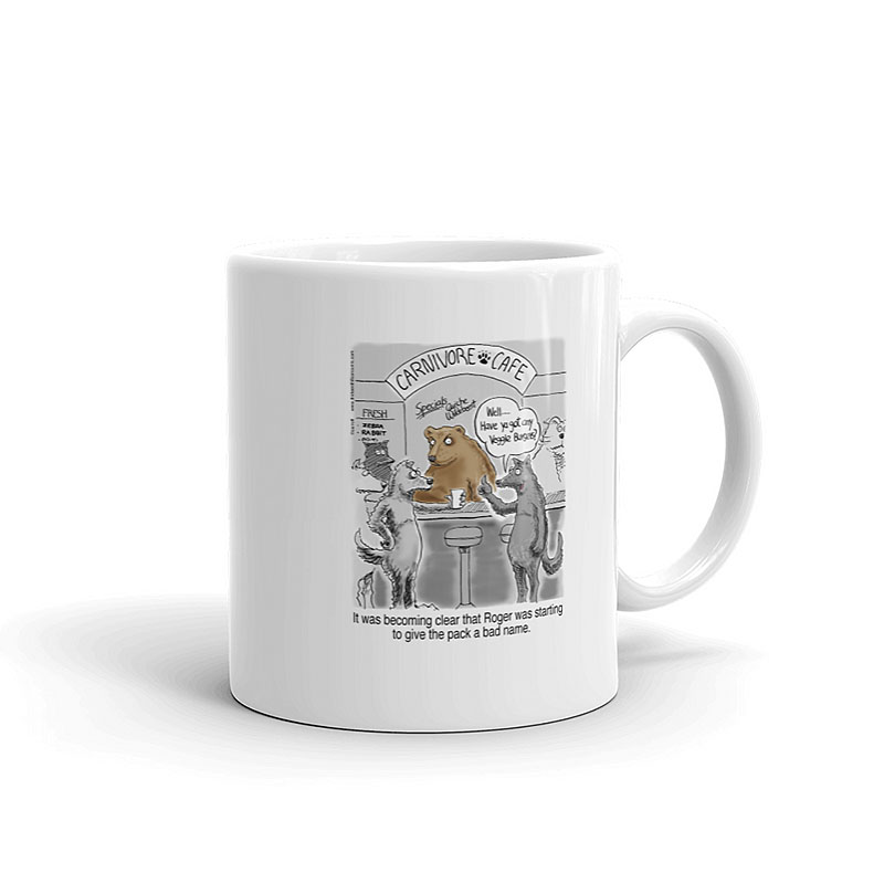 vegetarian wolf coffee mug 11oz