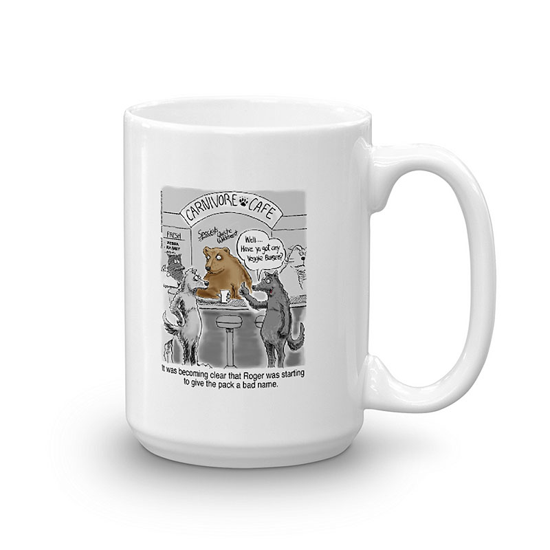 vegetarian wolf coffee mug 15oz